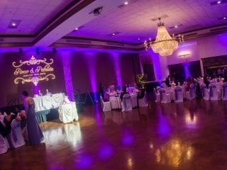 Wedding reception uplighting and projections gobo.  Purple