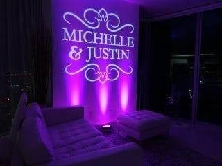 Wedding Gobo with Lighting in purple