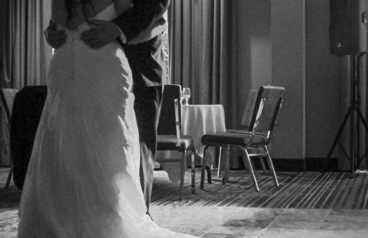 Bride & Groom first dance black and white photo