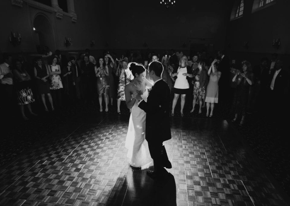 Happy bride & groom first dance in spot light